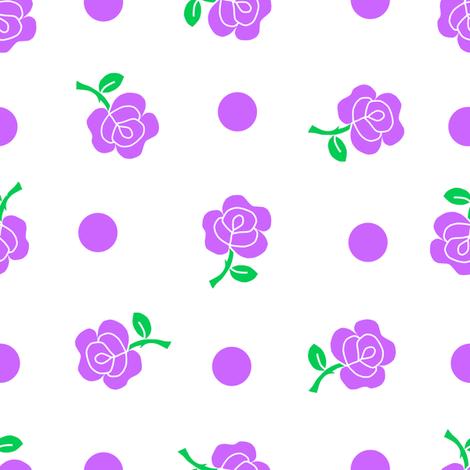 Purple rose repeat fabric by squeakyangel on Spoonflower - custom fabric