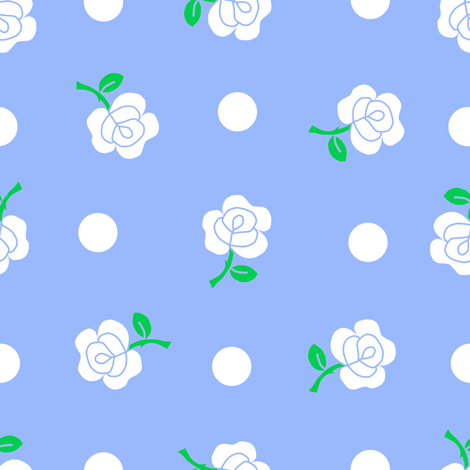 White rose blue repeat fabric by squeakyangel on Spoonflower - custom fabric