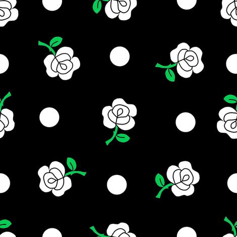 White rose black repeat fabric by squeakyangel on Spoonflower - custom fabric