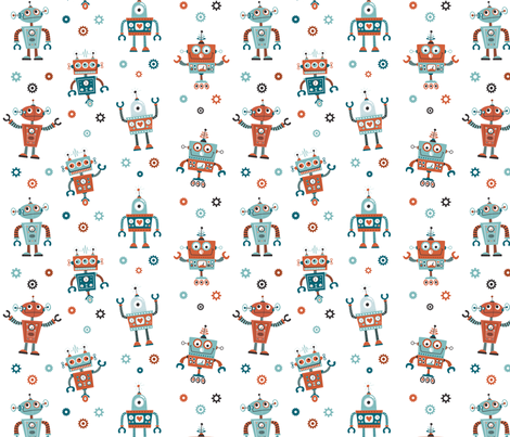 ROBOTS PARTY fabric by crixtina on Spoonflower - custom fabric