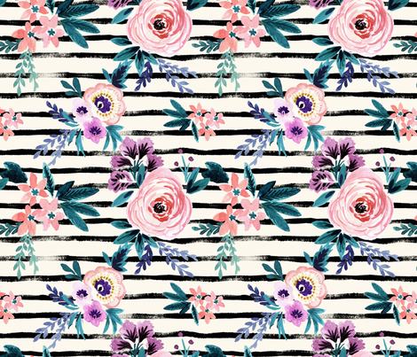 Victoria Floral Stripe fabric by crystal_walen on Spoonflower - custom fabric