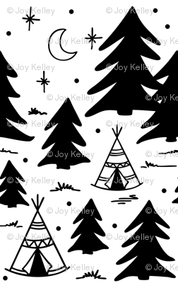 Camping adventure pattern - Black and white