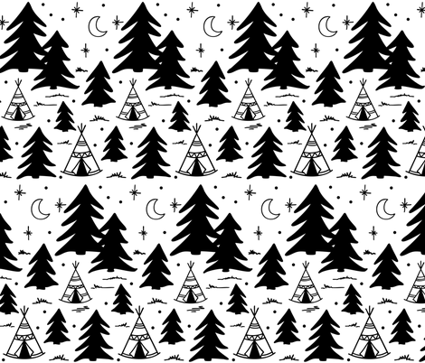Camping adventure pattern - Black and white fabric by howjoyful on Spoonflower - custom fabric