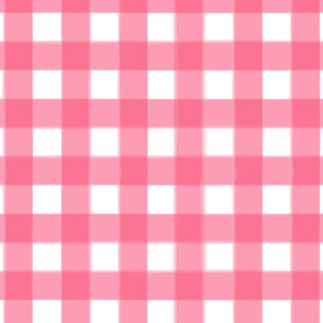 brushed wide gingham bubble gum pink