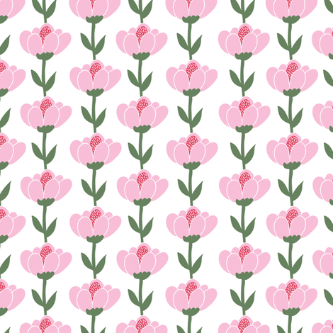 Scandinavian tulips - pink fabric by thislittlestreet on Spoonflower - custom fabric