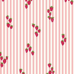 Wild strawberries in vintage pink stripes