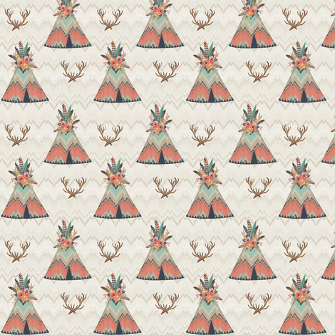 Small Scale Teepees in Ikat Chevron fabric by willowlanetextiles on Spoonflower - custom fabric