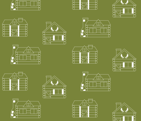 Moose cabin  // winter edition - holly fabric by buckwoodsdesignco on Spoonflower - custom fabric