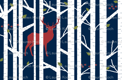 Into the woods - deer // winter edition on navy