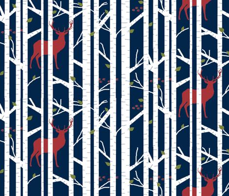 Into the woods - deer // winter edition on navy fabric by buckwoodsdesignco on Spoonflower - custom fabric