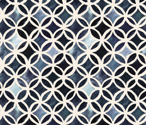 Painted Deco Circles Midnight fabric by crystal_walen on Spoonflower - custom fabric