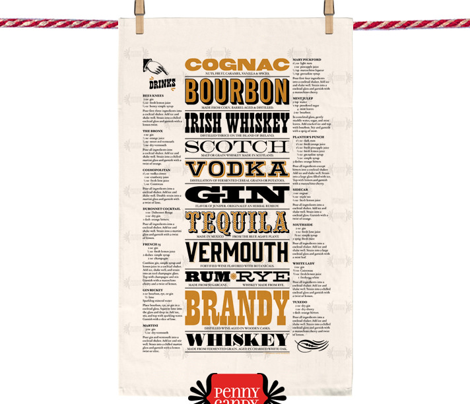 Prohibition Cocktails Tea Towel* || spirits beverage mixed drink recipe typography 20s text bar pub barroom saloon speakeasy cut and sew diy kitchen