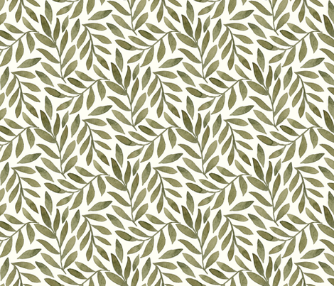 Green Leaves on Ivory fabric by bluebirdcoop on Spoonflower - custom fabric