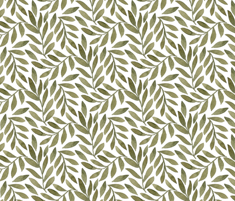 Green Leaves on White fabric by bluebirdcoop on Spoonflower - custom fabric