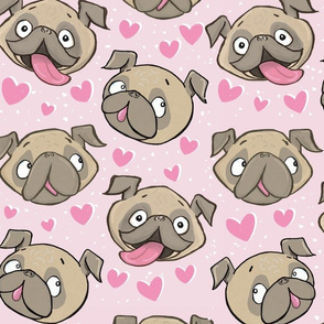 Large Fawn Pugs and Hearts