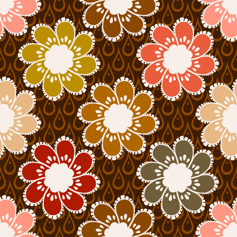 Rainy Day Flowers - Chocolate fabric by siya on Spoonflower - custom fabric