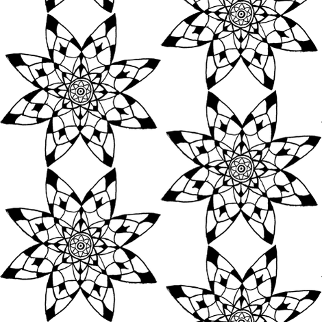 Mandala - 8 point Black & White fabric by jelliclestudio on Spoonflower - custom fabric