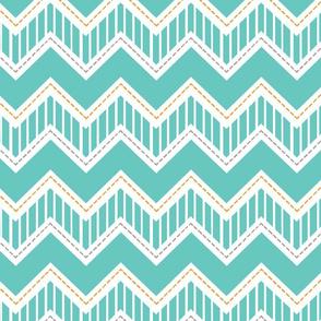 Striped Turquoise Chevron