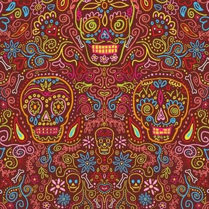 Sugar Skulls Deep Red