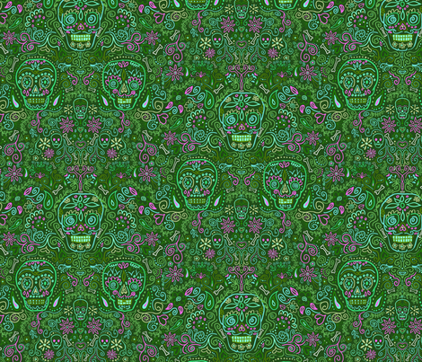 Sugar Skulls Green and Pink fabric by vinpauld on Spoonflower - custom fabric
