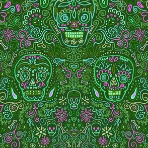 Sugar Skulls Green and Pink