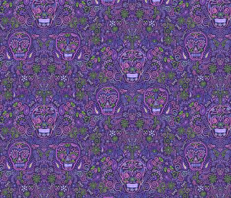 Sugar Skulls Purple fabric by vinpauld on Spoonflower - custom fabric