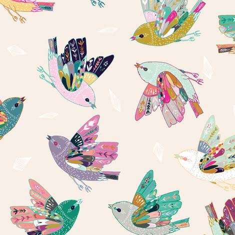 Joy Flight (cream) fabric by nouveau_bohemian on Spoonflower - custom fabric