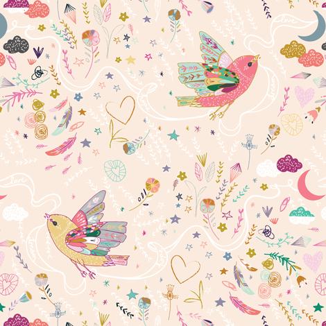Love. Hope. Dream. (peach) fabric by nouveau_bohemian on Spoonflower - custom fabric