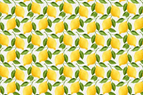 Watercolor Lemons Pattern fabric by helga_wigandt on Spoonflower - custom fabric