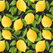 Watercolor Lemons Pattern on Black Background