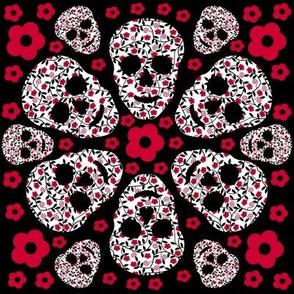 Red flowers & skulls