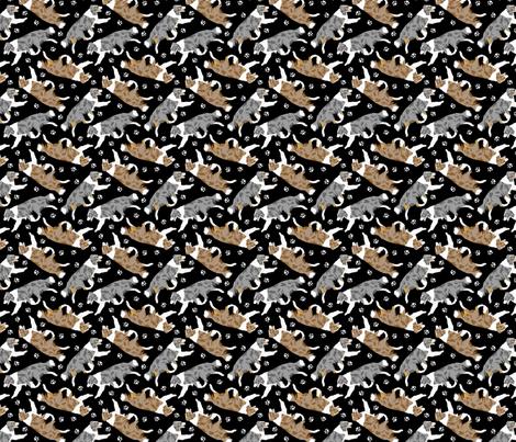 Trotting Border Collies and paw prints B - tiny black fabric by rusticcorgi on Spoonflower - custom fabric