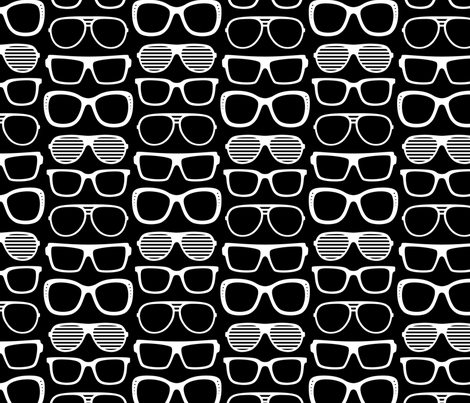 sunglasses LG reversed » black + white no.2 fabric by misstiina on Spoonflower - custom fabric