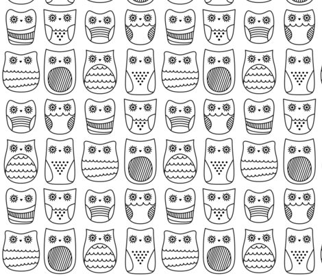 bright eyed owls » black + white no.3 fabric by misstiina on Spoonflower - custom fabric