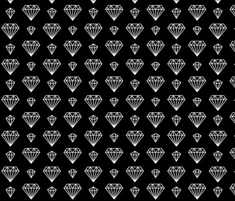 diamonds forever 2 reversed » black + white no.3 fabric by misstiina on Spoonflower - custom fabric