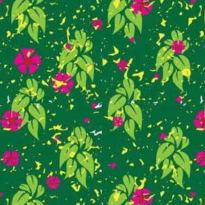 Tropical leaves Grunge Spring Green Hot Pink_Miss Chiff Designs