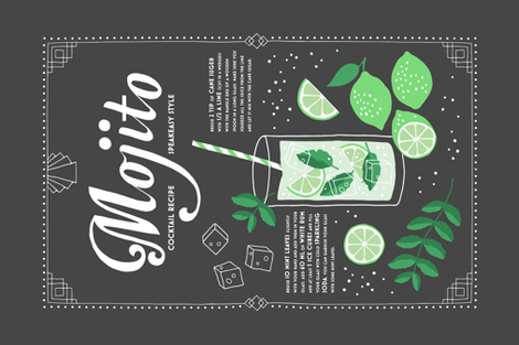 Mojito cocktail tea towel fabric by heleen_vd_thillart on Spoonflower - custom fabric