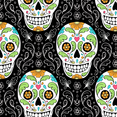 Calavera Sugar Skulls fabric by hazel_fisher_creations on Spoonflower - custom fabric