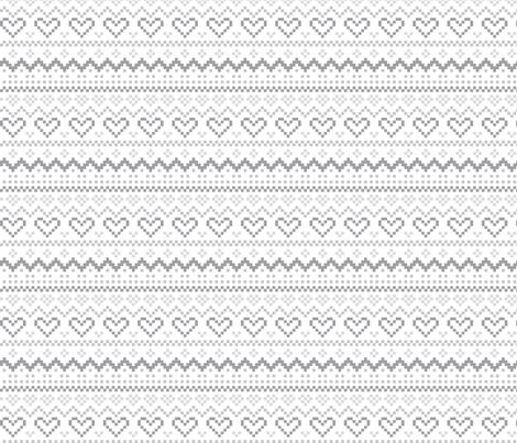 knitted grey no.1 LG fair isle fabric by misstiina on Spoonflower - custom fabric