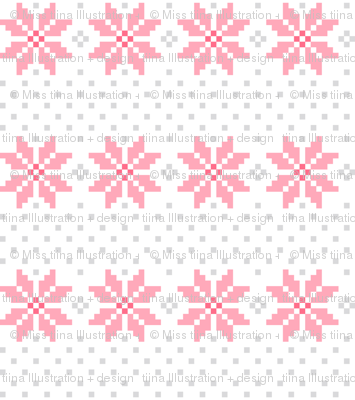 knitted pink no.5 LG poinsettias