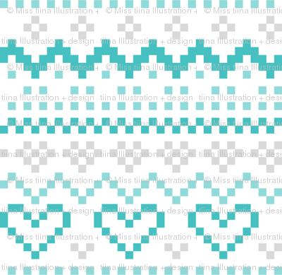 knitted teal no.1 LG fair isle
