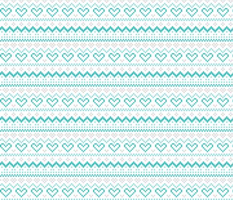 knitted teal no.1 LG fair isle fabric by misstiina on Spoonflower - custom fabric