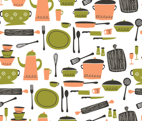 kitchen 101 (cantaloupe and avocado)  fabric by retrorudolphs on Spoonflower - custom fabric