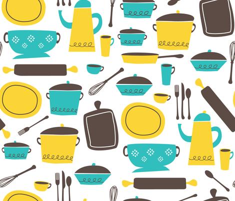 kitchen 100 (lemon & aqua) fabric by retrorudolphs on Spoonflower - custom fabric