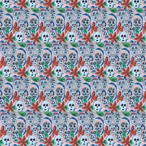 mosaic flower amongst skulls
