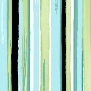 watercolor stripes - sea glass and black