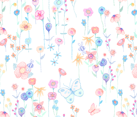 Dotted flower garden fabric by designed_by_debby on Spoonflower - custom fabric