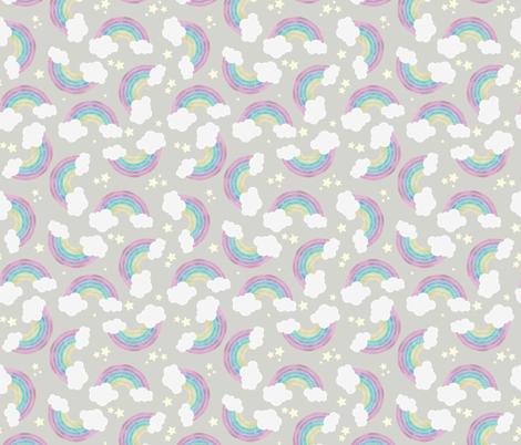 Chalkboard Rainbows - Small, Dark fabric by peppermintpeacock on Spoonflower - custom fabric