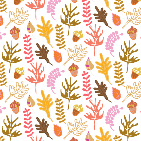 Falling Leaves with Acorns in Autumn fabric by pixabo on Spoonflower - custom fabric