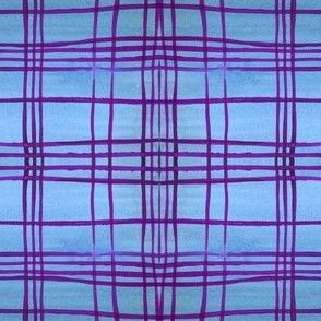 blue purple plaid watercolor
